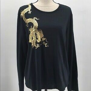 Modern Chinoiserie Gold Dragon Cotton Knit Tee